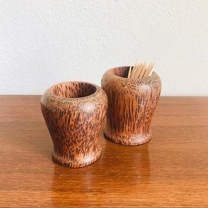 Pair of Vintage wood toothpick holders